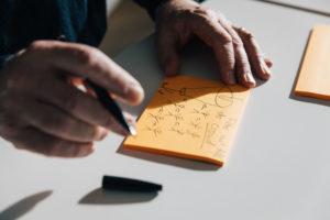 Auf Post-Its werden die Ideen in Form von kleinen Bildern fixiert.